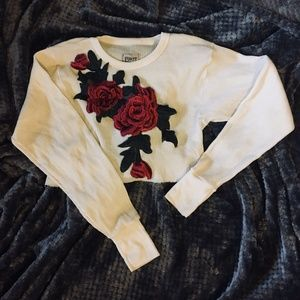 LF Furst of a Kind Rose Embroidered Thermal Crop